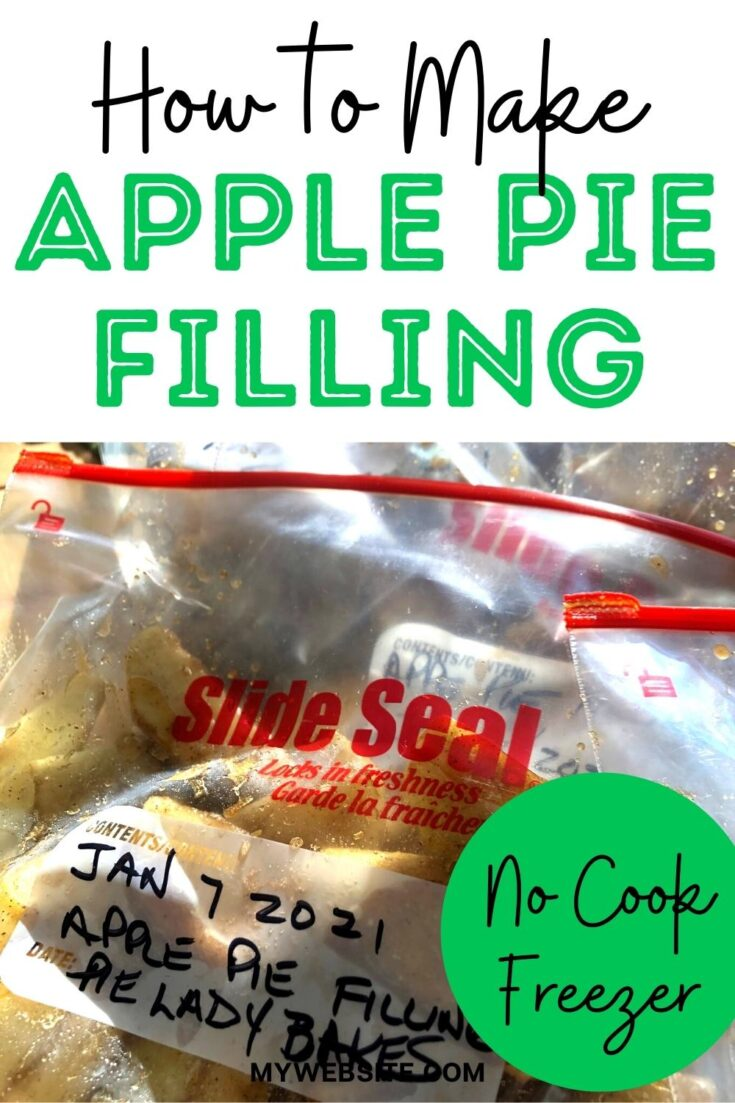 closeup of freezer apple pie filling in freezer bags