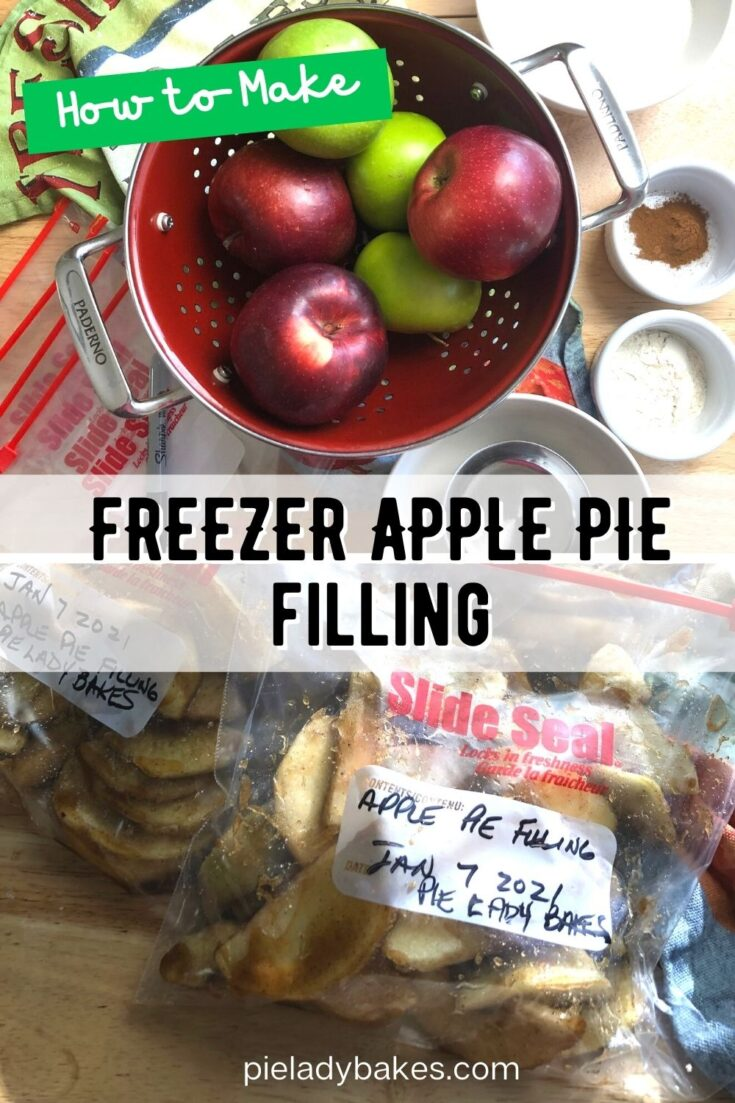 colander with red and green apples and image of apple pie filling in freezer bags