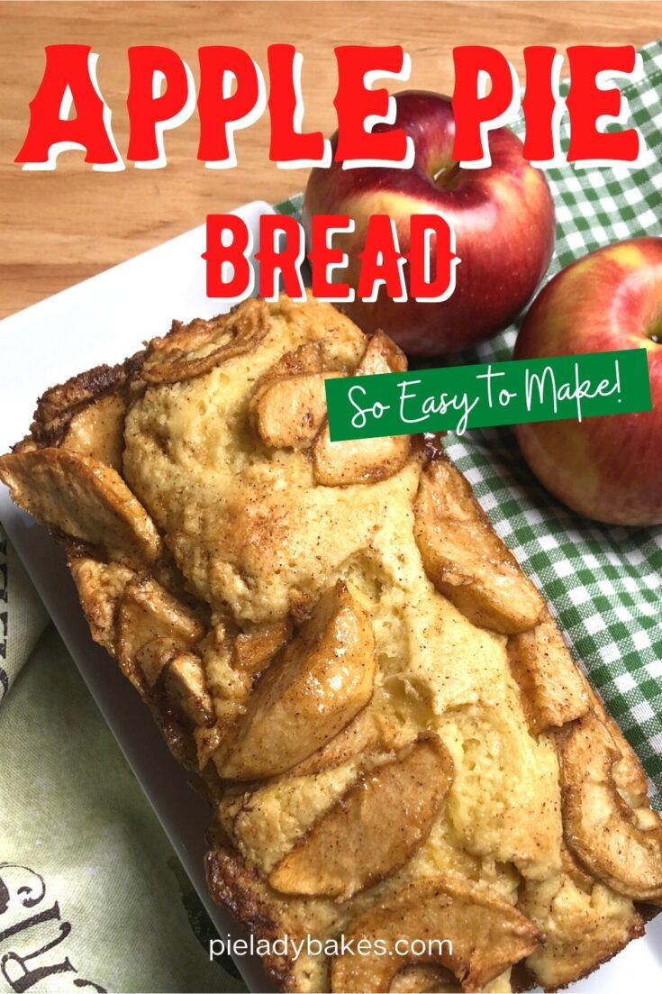 Apple Pie Bread overhead shot with apples, green & white checked cloth pin image