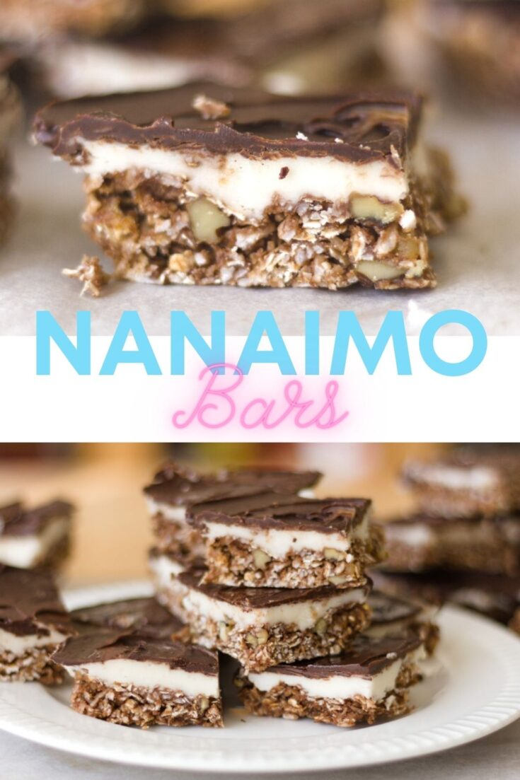 2 images of nanaimo bars, one single image on top and a white plate with nanaimo bars stacked on it, text reads Nanaimo Bars