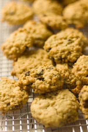 dozen of ranger cookie recipe on a cooling rack
