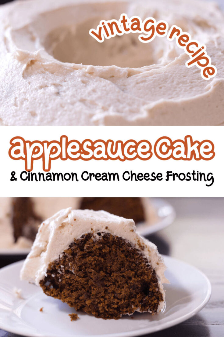 closeup image of cake with cream cheese frosting bottom image is slice of applesauce cake on a white plate