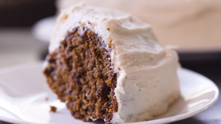 slice of applesauce cake on a white plate