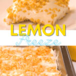 two images top images slice of lemon freeze dessert bottom image shows lemon freeze dessert in square baking pan