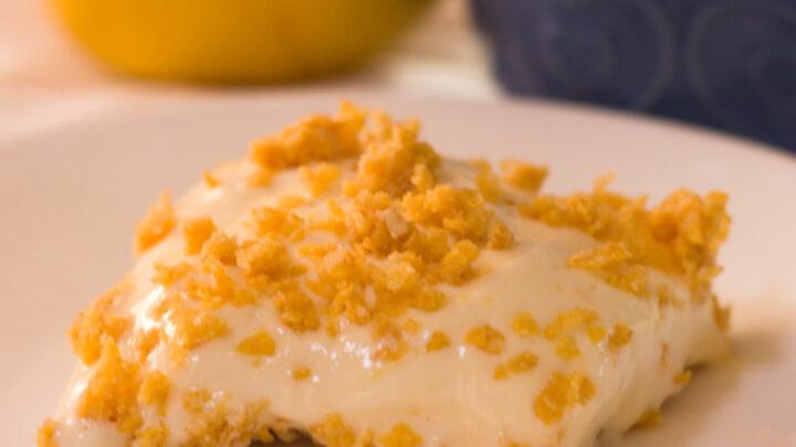 closeup of lemon bar on white plate