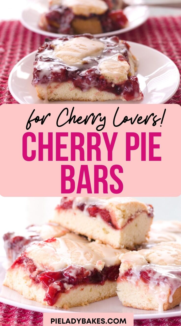 white plate with a cherry pie on it and bottom image has white plate with stack of cherry bars on it