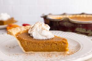 side view of slice of pumpkin pie
