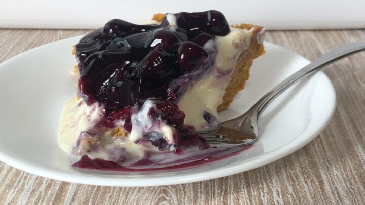 blueberry cheesecake on white plate with fork partly eaten