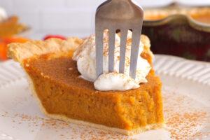 eating a pie of pumpkin pie