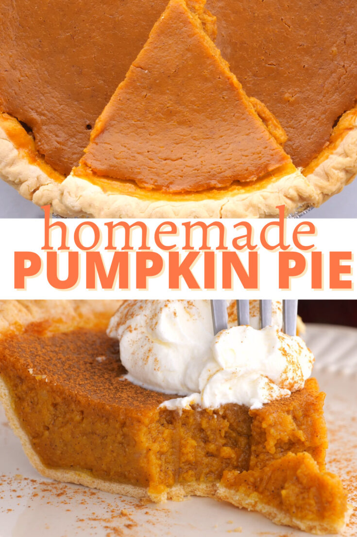 two images of pumpkin pie for pinterest text reads homemade pumpkin pie