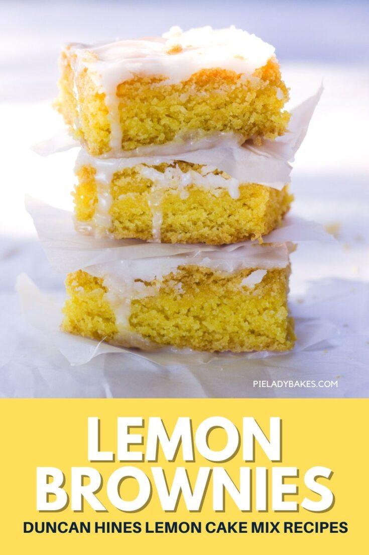 duncan hines lemon cake mix recipes stack of 3 lemon brownies pins