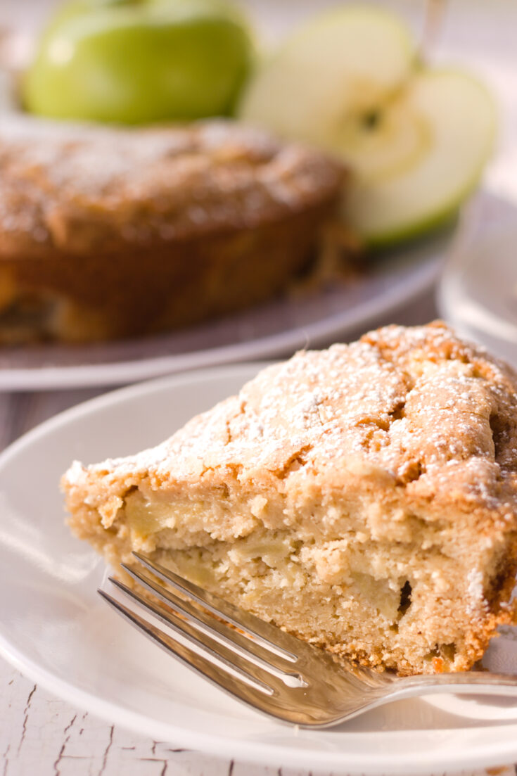 vertical pin image of french apple cake