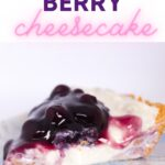 generous slice of blueberry cheesecake that is no bake on a blue patterned plate