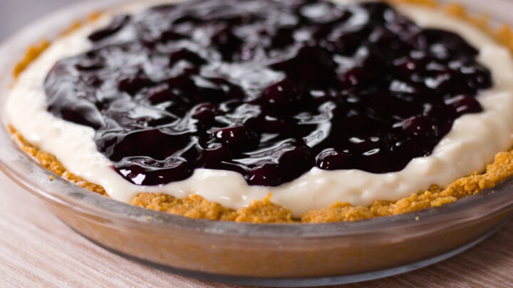 overhead view of blueberry cheesecake pie