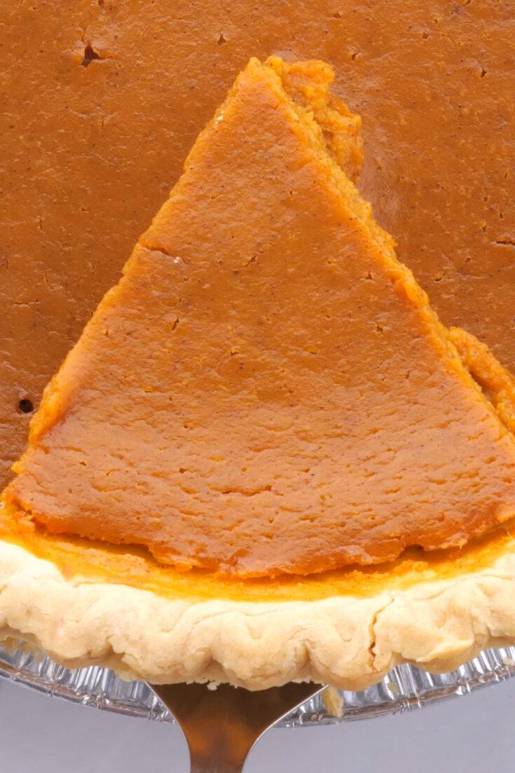 closeup view of pumpkin pie slice