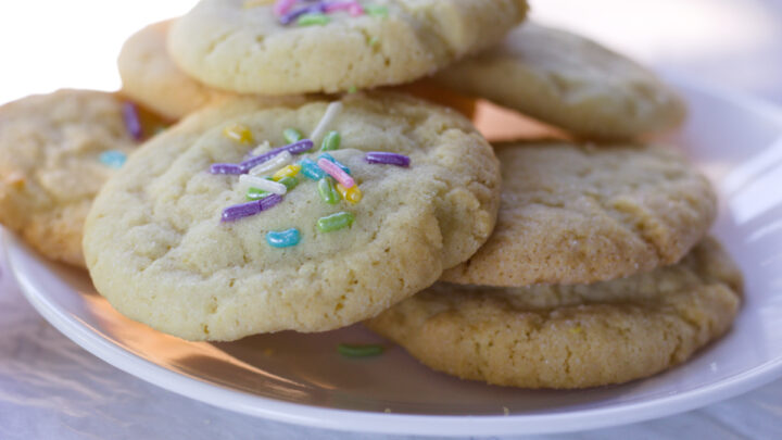 soft sugar cookie recipe without vanilla on white plate