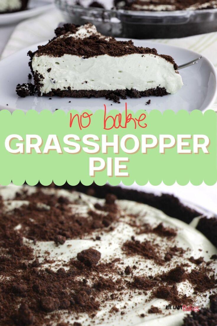 two images of no bake grasshopper pie recipe