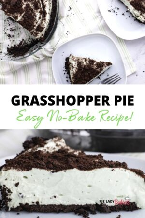 two images of grasshopper pie with green striped napkins white plates