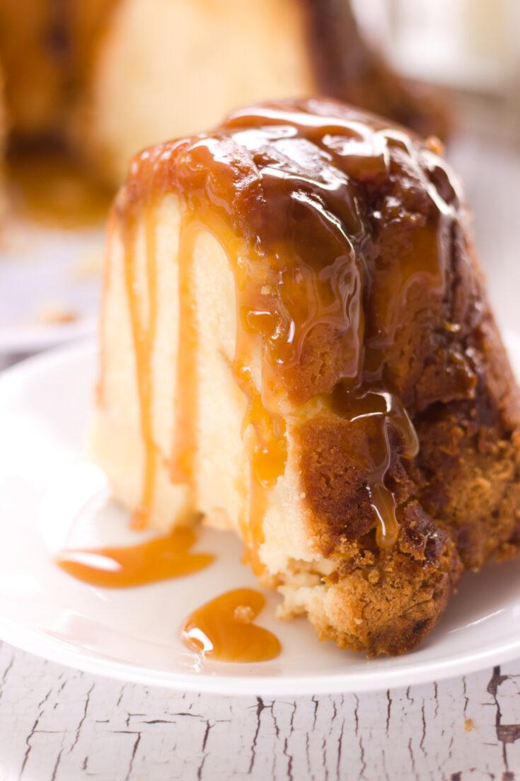 the best peach cobbler cream cheese pound cake slice