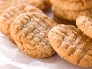 closeup of freshly baked peanut butter cookie recipe without brown sugar
