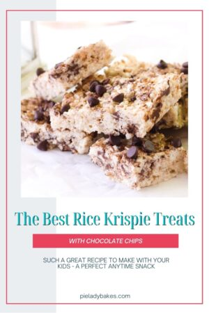 rice krispie treats on parchment paper with text for pinterest