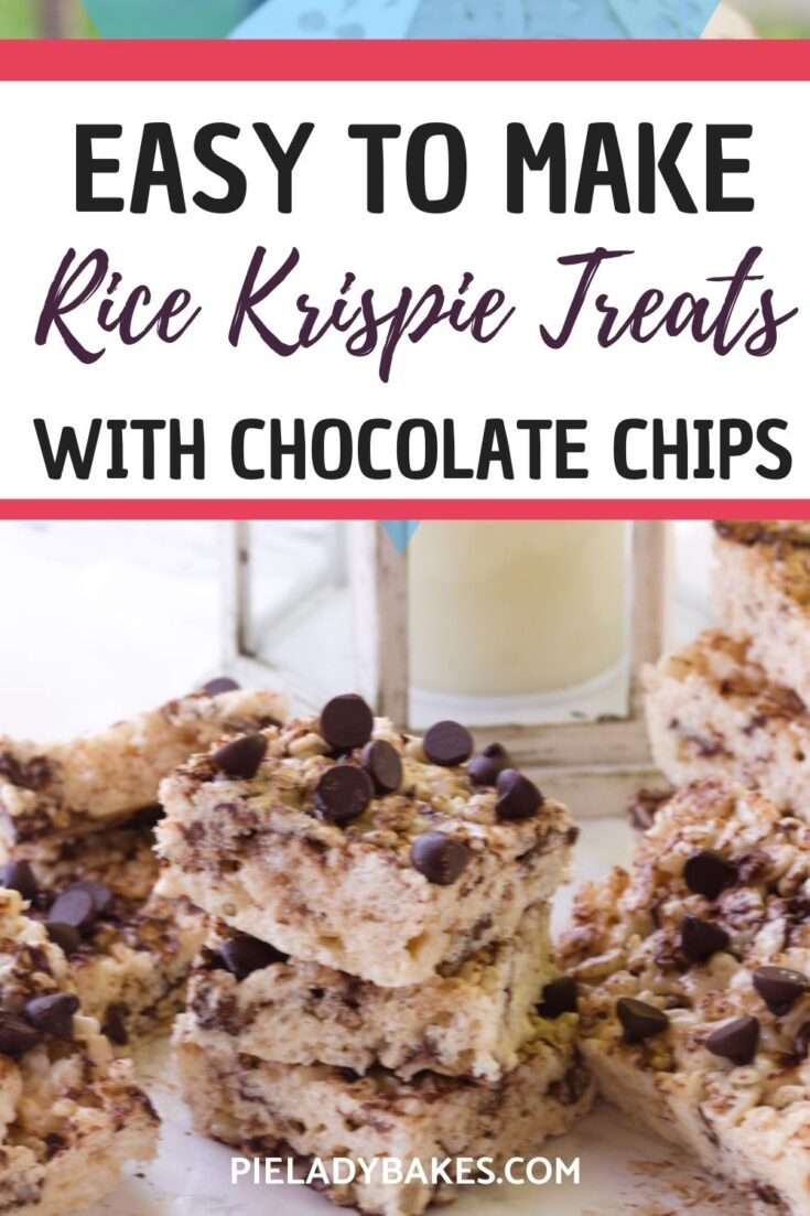 rice krispies treats with chocolate chips recipe with text for pinterest
