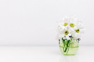 clear glass jar with daisies on a white background